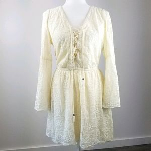 American Eagle Ivory Lace Boho Dress Off white L